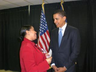 Sherlene Shanklin with President Barack Obama