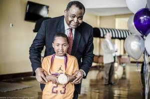 Watkins poses with Olympian Medalist